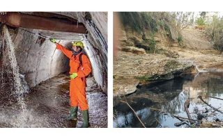 Η ομάδα «Γεωμυθική» μαζί με σπηλαιολόγους εντόπισαν παλαιούς σιδερένιους αγωγούς αποχέτευσης της ΕΥΔΑΠ να έχουν σαπίσει, με αποτέλεσμα τα βοθρολύματα να πέφτουν στο τούνελ του ρέματος Καλογήρων και να φτάνουν στην Πικροδάφνη.