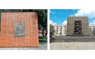 Δύο σημεία μνήμης στην Πολωνία, αφιερωμένα στον Γερμανό πολιτικό Βίλι Μπραντ, ο οποίος τιμήθηκε με Νομπέλ Ειρήνης (αριστερά), και στους ήρωες του γκέτο της Βαρσοβίας.