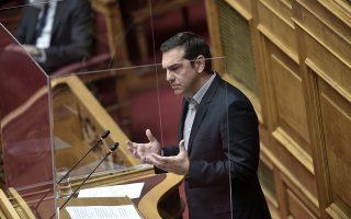 Ο κ. Τσίπρας κατηγορώντας τον κ. Μητσοτάκη είπε ότι η Ν.Δ. ως αξιωματική αντιπολίτευση «στήριξε εκδηλώσεις ακραίου εθνικισμού» (φωτ. INTIME NEWS).