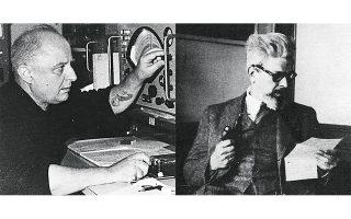 Αριστερά: Ο Νίκος Καββαδίας εργάστηκε ως ασυρματιστής σε ποντοπόρα πλοία. Η θάλασσα επηρέασε καθοριστικά το έργο του. Δεξιά: Ο Ανδρέας Εμπειρίκος στο Παρίσι το 1952.