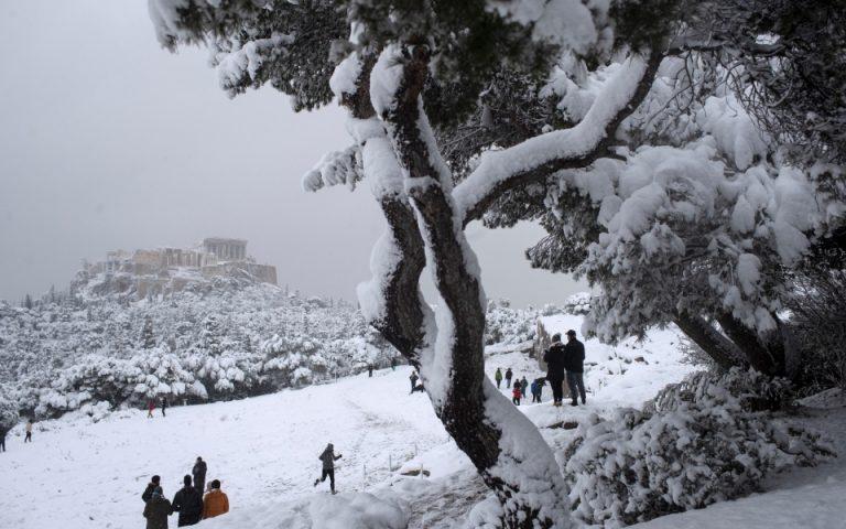Οι ξένοι πρέσβεις απολαμβάνουν το χιονισμένο Αττικό τοπίο