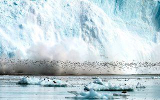 Χιλιάδες θαλασσοπούλια αφήνουν προσωρινά το πόστο τους, μέχρι να περάσει η αναταραχή που προκαλεί η αποκόλληση τόνων πάγου από τον παγετώνα. ΦΩΤΟΓΡΑΦΙΕΣ: Μπάμπης Γκιριτζιώτης/Canon Greece