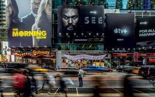 Η Times Square γεμάτη με διαφημίσεις του Apple+, αποτέλεσμα μιας προωθητικής καμπάνιας 19,9 εκατ. δολαρίων. © Brittainy Newman/The New York Times