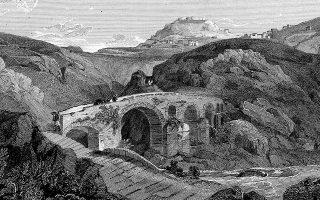 «Ο Αλφειός κοντά στην Καρύταινα», γκραβούρα του Εντουαρντ Ντόντγουελ φιλοτεχνημένη το 1819 (φωτ. travelogues).