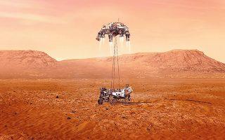 Το ρομποτικό σκάφος «Perseve- rance» της NASA θα επιχειρήσει να διαπιστώσει αν στον Αρη υπήρχε ποτέ ζωή (φωτ. EPA/NASA).