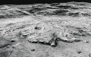 Αναπαράσταση του κρατήρα Jezero στον Αρη, όπου αναμένεται να φθάσει στις 18 Φεβρουαρίου η διαστημοσυσκευή «Perseverance Rover» της NASA, με κύριο στόχο την ανακάλυψη κάποιου είδους αρχέγονης μικροβιακής ζωής. (Φωτ. NASA)