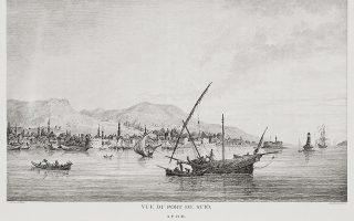 Το λιμάνι της Χίου. Από το βιβλίο του Choiseul-Gouffier «Voyage pittoresque de la Grèce», Παρίσι, 1782 (αναπαραγωγή από το Travelogues του Ιδρύματος Αικατερίνης Λασκαρίδη).
