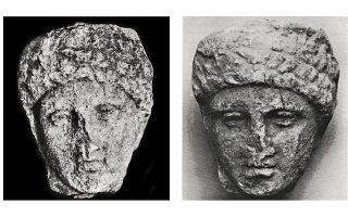 Αριστερά, φωτ. της κεφαλής στο Αρχαιολογικό Δελτίο του 1926 και, δεξιά, η ίδια κεφαλή όπως βρέθηκε στη συλλογή Κανελλοπούλου. Αφορμή για την έρευνα του αρχαιολόγου Αγγελου Ζαρκάδα στάθηκε δημοσίευμα της «Κ» το 2008.