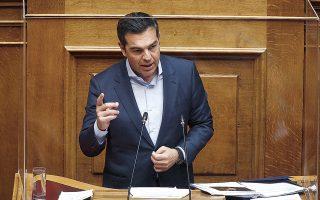 Ο κ. Τσίπρας κατηγόρησε τον κ. Μητσοτάκη ότι στόχος της κυβέρνησης είναι να μη συζητηθεί η ουσία της υπόθεσης. (Φωτ. ΑΠΕ-ΜΠΕ)