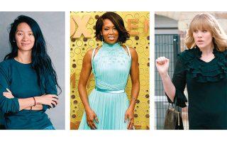 Από αριστερά, Κλόε Ζάο, Εμεραλντ Φενέλ και Ρεγκίνα Κινγκ, η γυναικεία τριπλέτα που έγραψε ιστορία στις υποψηφιότητες των Χρυσών Σφαιρών.
