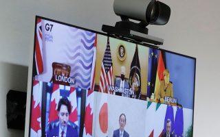 Στην πρώτη εφετινή σύνοδο κορυφής του G7, μέσω τηλεδιάσκεψης, κεντρικό θέμα ήταν ο συντονισμός της Δύσης στη μάχη κατά της COVID-19 (φωτ. EPA).