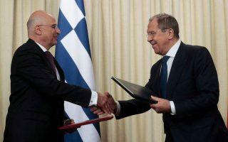 Στιγμιότυπο από παλαιότερη συνάντηση του υπουργού Εξωτερικών Νίκου Δένδια με τον Ρώσο ομόλογό του Σεργκέι Λαβρόφ.