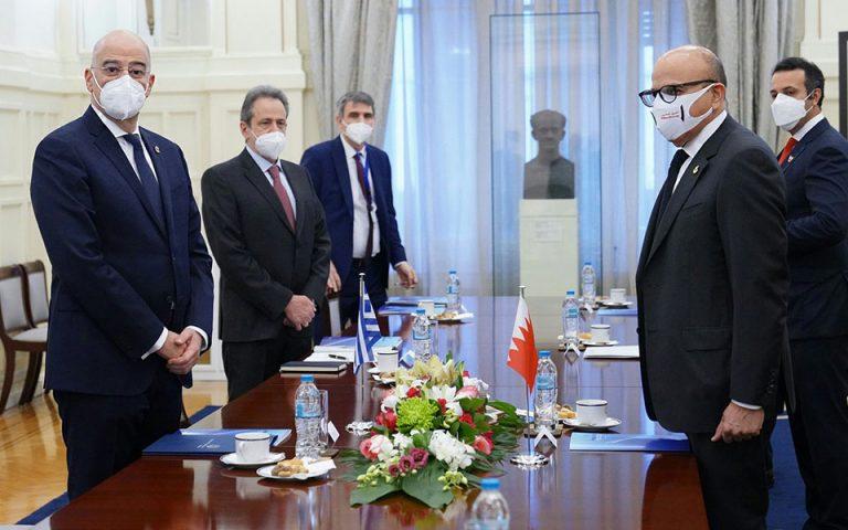 Η συνεργασία των δύο χωρών στο επίκεντρο συνάντησης Δένδια – ΥΠΕΞ  του Μπαχρέιν