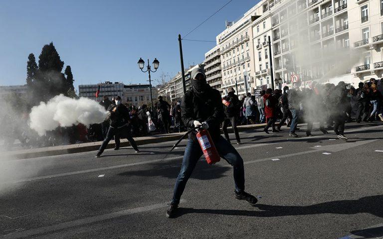 Ένταση στο πανεκπαιδευτικό συλλαλητήριο στο κέντρο της Αθήνας