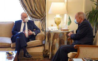 Ο υπουργός Εξωτερικών Νίκος Δένδιας και ο Αιγύπτιος ομόλογός του Σάμεχ Σούκρι. Φωτ. ΑΠΕ ΜΠΕ/ ΓΡΑΦΕΙΟ ΤΥΠΟΥ ΥΠΕΞ / ΧΑΡΗΣ ΑΚΡΙΒΙΑΔΗΣ.