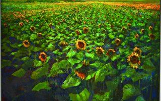Μίλτος Γκολέμας, Χωράφι με ηλιοτρόπια (2020). Λάδι σε καμβά. Από την ομαδιική έκθεση «Κηπουρική». Συνεπιμέλεια: Γεωργία Λιάπη και Οι κηπουροί της Γκαλερί Ζουμπουλάκη. Γκαλερί Ζουμπουλάκη, πλατεία Κολωνακίου 20.