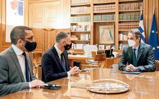 O Κυρ. Μητσοτάκης υποδέχθηκε χθες στο Μέγαρο Μαξίμου τον Πρόεδρο του Δημοκρατικού Κόμματος της Κύπρου Νικόλα Παπαδόπουλο (φωτ. ΓτΠ ΠΑΠΑΜΗΤΣΟΣ ΔΗΜΗΤΡΗΣ).