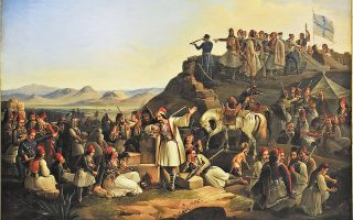 Απεικόνιση του στρατοπέδου του Καραϊσκάκη στο Φάληρο (1855), του Θεόδωρου Βρυζάκη (Εθνική Πινακοθήκη).