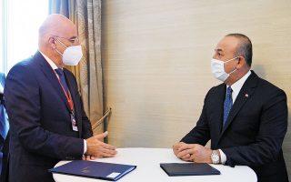 Η τουρκική πλευρά πιέζει για άμεση συνάντηση ανάμεσα στους υπουργούς Εξωτερικών των δύο χωρών, Νίκο Δένδια και Μεβλούτ Τσαβούσογλου (φωτ. ΥΠΕΞ / Χαρης Ακριβιαδης).