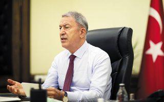 Την ενόχλησή του για τις κοινές ασκήσεις που ξεκίνησε η Ελλάδα με την αεροπορία της Σαουδικής Αραβίας εξέφρασε ο υπουργός Αμυνας της Τουρκίας Χουλουσί Ακάρ (φωτ. Turkish Defense Ministry via A.P., Pool).