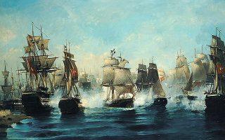 Ο «Αρης» καταστρέφει επτά εχθρικά πλοία μέσα σε έναν καταιγισμό διασταυρούμενων πυρών και σπάει τον ασφυκτικό κλοιό των δεκάδων αιγυπτιακών πλοίων, πραγματοποιώντας την ηρωικότερη έξοδο του ναυτικού αγώνα του 1821. Ελαιογραφία του Κωνσταντίνου Βολανάκη.