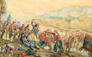 Η μάχη της Αλαμάνας τον Απρίλιο του 1821 και ο θάνατος του Αθανασίου Διάκου και του Αρχιεπισκόπου Σαλώνων Ησαΐα. Χρωμολιθογραφία του Αλέξανδρου Ησαΐα (1839, Εθνικό Ιστορικό Μουσείο, Αθήνα).