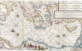 Ναυτικός χάρτης της Ανατολικής Μεσογείου του Gerard van Keulen από έκδοση των αρχών του 18ου αι. (συλλογή Μαριλένας Σαμούρκα).