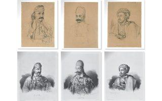 Κολοκοτρώνης, Καραϊσκάκης και Μακρυγιάννης είναι μερικοί από τους ήρωες που απαθανατίστηκαν. Πάνω, τα προσχέδια του Κρατσάιζεν από τα οποία προέκυψαν τα πορτρέτα είναι υπογεγραμμένα από τους ίδιους τους εικονιζομένους.