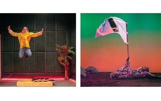 Από αριστερά, Ιωάννα Παρασκευοπούλου, «All she likes is popping bubble wrap», Αννα Παπαθανασίου, «Axel's just dreaming».