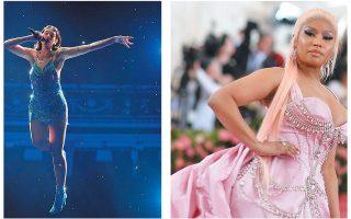 Η Dua Lipa (αριστερά) και η Νίκι Μινάζ είναι από τις σχετικά λίγες γυναίκες με έντονη εκπροσώπηση στο αμερικανικό Billboard 100.