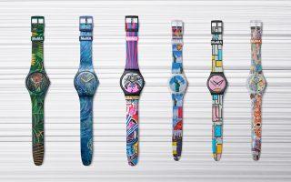 Τα έξι συλλεκτικά Swatch x MoMA: Από αριστερά, The Dream – The Starry Night – The City and Design, The Wonders of Life on Earth, Isamu Kurita – New York – Composition in Oval with Color Planes 1 – Hope, II