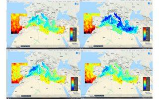 Οι τέσσερις εικόνες αποτυπώνουν την ανάπτυξη του φαινομένου από την αρχή του, στις 28 Φεβρουαρίου, με στιγμιότυπα στις 6,10 και 14 Μαρτίου (πρόγνωση), που αποσβένει. Με το σκούρο μπλε αποδίδεται η χαμηλότερη στάθμη της θάλασσας και με το κόκκινο η υψηλότερη.