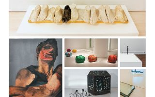 Βλάσης Κανιάρης, «Οψεις του ρατσισμού ΙΙ» (επάνω). Ηλίας Παπαηλιάκης, «Το πορτραίτο του P. P. Pasolini» (αριστερά). Κιμσούτζα, «Bottari» και Χάρις Επαμεινώνδα, «Χωρίς τίτλο» (κέντρο). Γιώργος Λάππας, «Mappemonde» (κάτω) και Γιώργος Γυπαράκης, «Νυχτερινό τοπίο» (κάτω δεξιά).