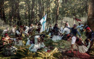 Αναπαράσταση της μάχης του Λάλα στην Ηλεία, μιας από τις πρώτες νικηφόρες επιχειρήσεις.