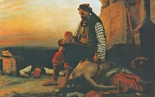 «Σύγχρονο ελληνικό θέμα εμπνευσμένο από τη σφαγή της Σαμοθράκης, 1821». Ελαιογραφία του Ζαν-Μπατίστ Βενσόν. Ο Ελληνας ήρωας είναι ο ηττημένος.