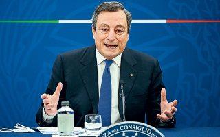 Σύμφωνα με πηγές, ο Μάριο Ντράγκι ενοχλήθηκε έντονα από τη μεταχείριση της Ούρσουλα φον ντερ Λάιεν και την έλλειψη σεβασμού που δείχνει ο Ταγίπ Ερντογάν για την Ευρωπαϊκή Ενωση (φωτ. Riccardo Antimiani/Pool Photo via A.P.).