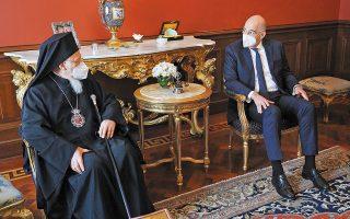 Τον υπουργό Εξωτερικών Νίκο Δένδια υποδέχθηκε χθες ο Οικουμενικός Πατριάρχης κ.κ. Βαρθολομαίος (φωτ. ΥΠΕΞ / Χαρης Ακριβιαδης).