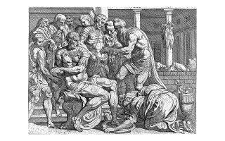 Χαρακτικό που απεικονίζει τον Οδυσσέα και τον Τηλέμαχο την ώρα που πλένονται, με τη βοήθεια δούλων, αφού έχουν σκοτώσει τους μνηστήρες. (Φωτ. SHUTTERSTOCK)