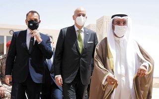 Με τον γ.γ. του Συμβουλίου Συνεργασίας του Κόλπου Ναγιέφ μπιν Φαλάχ αλ Χαϊράφ συναντήθηκαν χθες οι κ. Ν. Δένδιας και Ν. Παναγιωτόπουλος (φωτ. ΑΠΕ-ΜΠΕ / ΥΠΟΥΡΓΕΙΟ ΕΞΩΤΕΡΙΚΩΝ / ΧΑΡΗΣ ΑΚΡΙΒΙΑΔΗΣ)