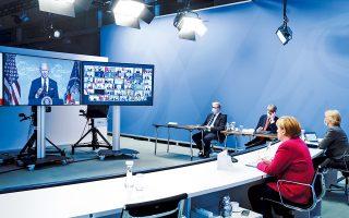 Στη διαδικτυακή Διάσκεψη Κορυφής για το Κλίμα, ο Τζο Μπάιντεν προσκάλεσε 40 ηγέτες (στη φωτ. η Αγκελα Μέρκελ) για να ενθαρρύνει τις μεγάλες οικονομίες του κόσμου να δεσμευθούν με πιο φιλόδοξους στόχους. (Φωτ. Kay Nietfeld / Pool via REUTERS)