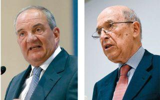 Οι πρώην πρωθυπουργοί Κ. Καραμανλής και Κ. Σημίτης (φωτογραφίες INTIME).