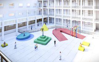 Σχέδιo για το νέο προαύλιο στο σχολείο École Secondaire des Filles de la Charité, στη Βηρυτό.