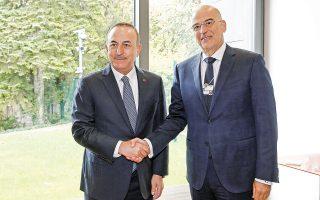 Η συνάντηση Ν. Δένδια και Μ. Τσαβούσογλου είναι σημαντική και ενόψει της άτυπης πενταμερούς διάσκεψης για το Κυπριακό στο τέλος του μηνός (φωτ. ΑΠΕ-ΜΠΕ / ΑΛΕΞΑΝΔΡΟΣ ΒΛΑΧΟΣ).