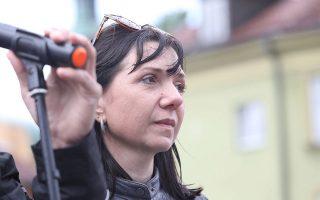 Η Νατάλια Προτάσεβιτς, μητέρα του συλληφθέντος αντιφρονούντος, στη χθεισνή διαδήλωση στη Βαρσοβία. EPA/Tomasz Gzell POLAND OUT