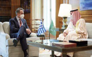 Ο πρωθυπουργός με τον υπουργό Πολιτισμού της Σαουδικής Αραβίας (Φωτ. ΓτΠ)