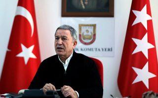 Την ενόχλησή του για την εμπλοκή των Βρυξελλών, αλλά και των ΗΠΑ, στις εξελίξεις στην Ανατολική Μεσόγειο εξέφρασε ο υπουργός Αμυνας της Τουρκίας Χουλουσί Ακάρ και ζήτησε να μείνουν μακριά από τις ελληνοτουρκικές διαφορές (φωτ. A.P.).