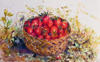 Ειρήνη Ηλιοπούλου, «Φράουλες». Συμμετοχή στην ομαδική έκθεση «Blossoms & Colours» στην γκαλερί Σκουφά. Διάρκεια: έως 22 Μαΐου. Η επίσκεψη στον χώρο είναι εφικτή κατόπιν ραντεβού. Σκουφά 4, Κολωνάκι.