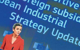 Η εκτελεστική αντιπρόεδρος της Κομισιόν Μαργκρέτε Βεστάγκερ τόνισε ότι η ανοιχτή ευρωπαϊκή αγορά προϋποθέτει «επαγρύπνηση». Για περισσότερα από 60 χρόνια, είπε, «έχουμε θεσμοθετήσει ένα σύστημα ελέγχου των κρατικών ενισχύσεων για να αποτρέψουμε μια κούρσα επιδοτήσεων μεταξύ των κρατών-μελών μας. Είναι επιτακτικό το σύστημα αυτό να πλαισιωθεί από μέτρα για την «αντιμετώπιση στρεβλωτικών επιδοτήσεων από μη μέλη της Ε.Ε.» (φωτ. EPA).
