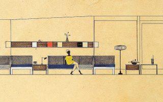 Προσχέδια μελέτης της Αναστασίας Τζάκου για τη διακόσμηση καμπανών στον Αστέρα Βουλιαγμένης (1960).Φωτ.  ΑΡΧΕΙΑ ΝΕΟΕΛΛΗΝΙΚΗΣ ΑΡΧΙΤΕΚΤΟΝΙΚΗΣ - ΜΟΥΣΕΙΟ ΜΠΕΝΑΚΗ