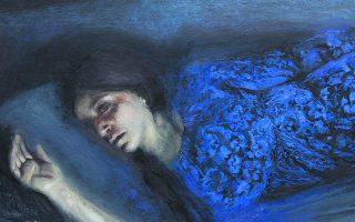 Ελέσα Αντύπα, «Νυχτερινό ΙΙ» (λεπτομέρεια), 2021, λάδι σε ξύλο. Από την ατομική έκθεση «Ορίζοντες του Βλέμματος», που εγκαινιάζεται στις 18 Μαΐου στην Αίθουσα Τέχνης Αθηνών. Διάρκεια: έως τις 19 Ιουνίου. Γλύκωνος 4, Αθήνα.
